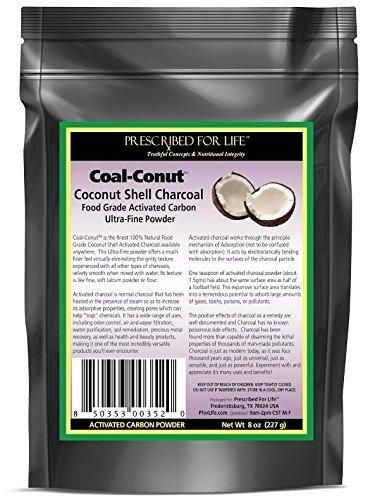 Coal-Conut (TM) - Activated Coconut Shell Charcoal Fine Husk Food Grade Powder (Ultra-Fine) - Organic Approved 8 oz