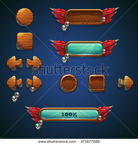 Jungle shamans mobile GUI set elements - game buttons for video or game user…