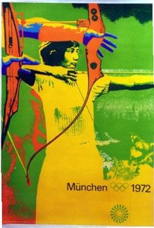 Munich 1972 Olympics  Archery • 1972 •  Lithograph • INV. #3488 • Otl H. Aicher of Ulm, who served as art director for the event, specified that all the individual sport posters start with a photograph. Then the images were solarized to achieve unusual effects & printed in bright color combinations.