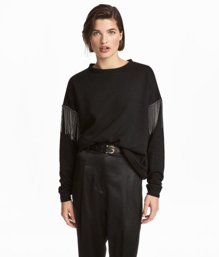 Check this out! Straight-cut sweatshirt with decorative ball chains, dropped shoulders,and long sleeves with ribbed cuffs. Soft, brushed inside. - Visit hm.com to see more.