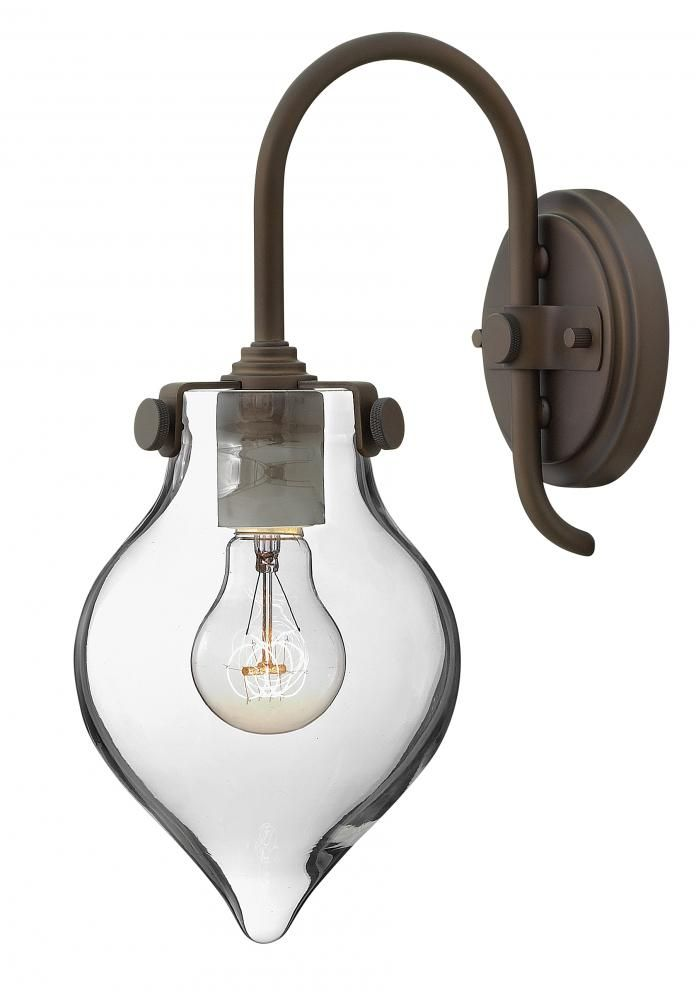 Hinkley Lighting 3177 1 Light Indoor Wall Sconce With Clear Teardrop Shade  From Oil Rubbed Bronze Indoor Lighting Wall Sconces Wall Sconce