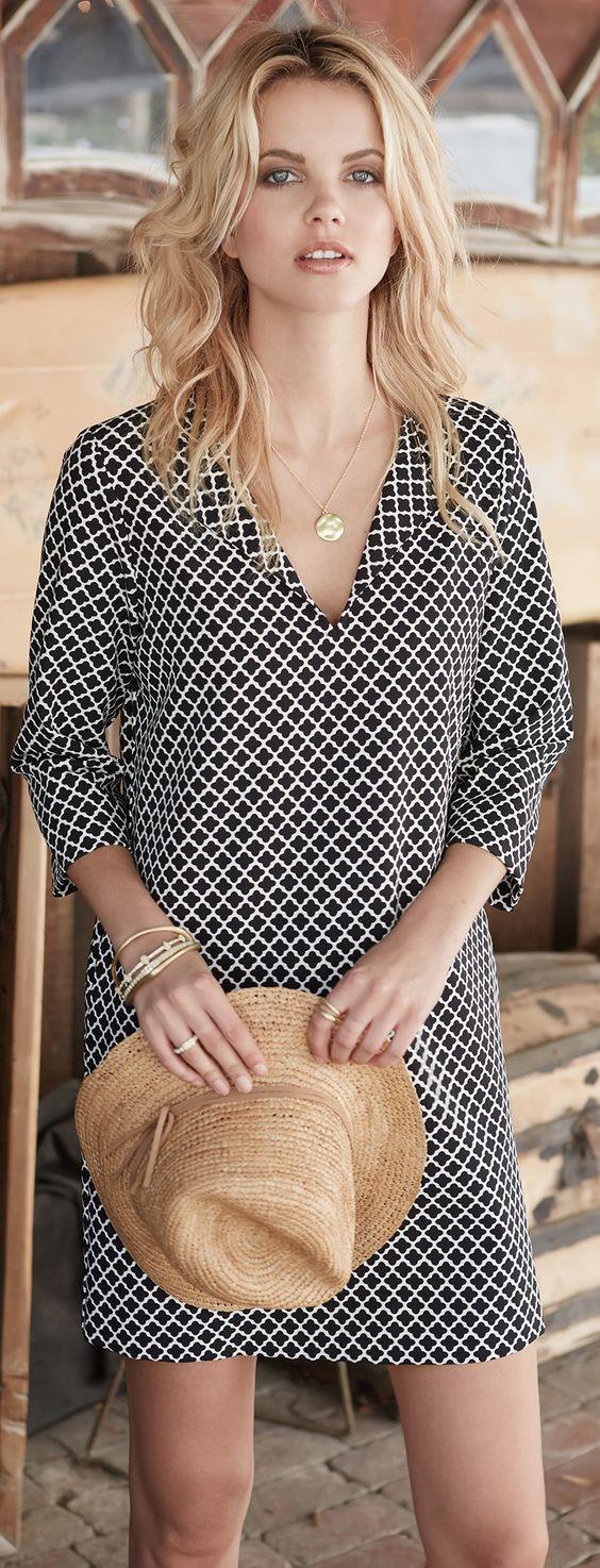 straw hat. black and white print split neck shift dress. Resort wear 2016. 3/4 length sleeve. Stitch Fix. Spring Fashion 2016