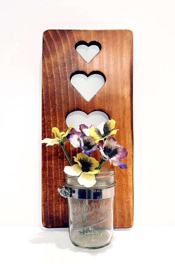 Mason JarHearts Vase/Candle holder Shown in by ThePineNuts on Etsy, $25.00