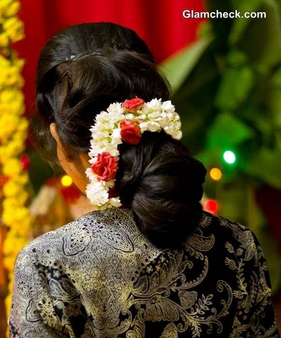 gajra hairstyles bun | indian bridal makeup, hairstyle
