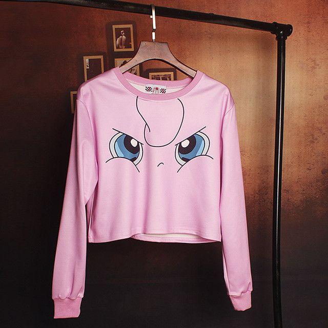 Harajuku Pokemon Cartoon Print Hoodies Casual Loose Crop top Sweatshirt Women 2017 Pullover Long Sleeve Cute Pink Hoodie C421