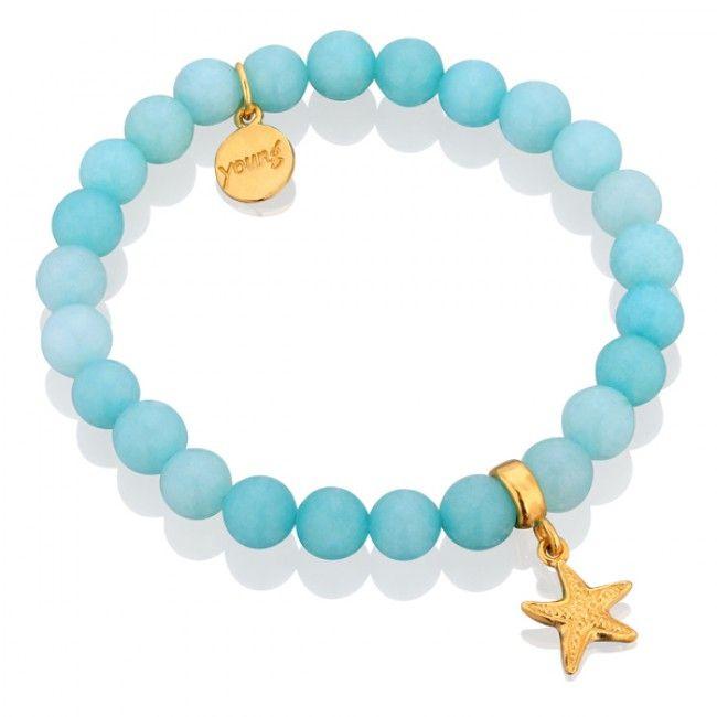 Błękitne jadeity z rozgwiazdą #mokobelle #mokobellejewellery #mokobelleyoung #young #blue #girl #starfish #bracelet #jewelry #gift #gold