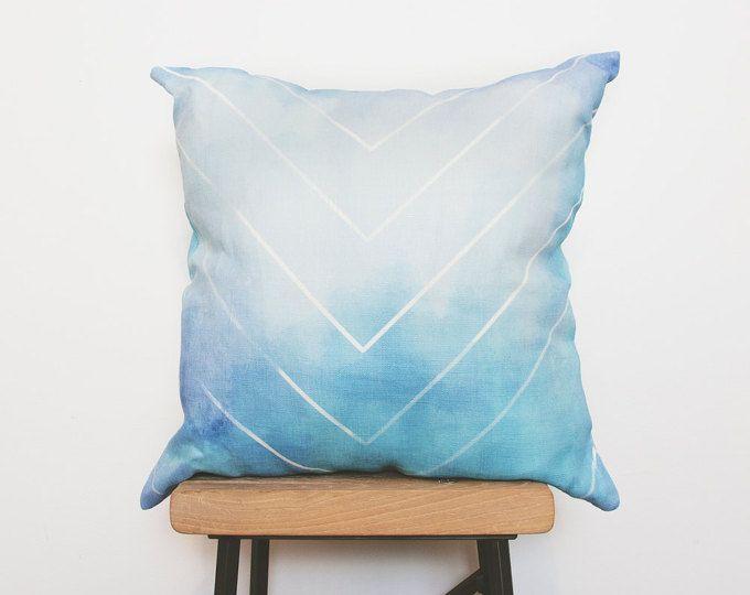 Handmade Farmhouse Chic Style Chevron Pillow Covers, Blue Euro Shams, Linen  Mint Nursery Pillowcase Great Pictures