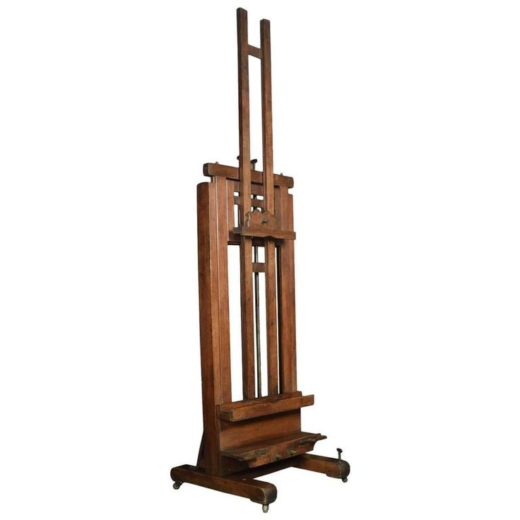 Oak Artist's Fully Adjustable Studio Easel | From a unique collection of antique and modern easels at https://www.1stdibs.com/furniture/more-furniture-collectibles/easels/
