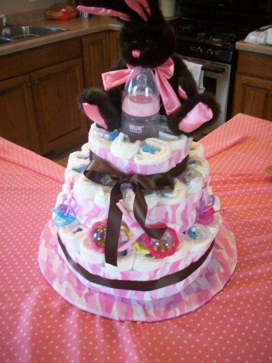 Pink Camo and Brown Ribbon Diaper Cake