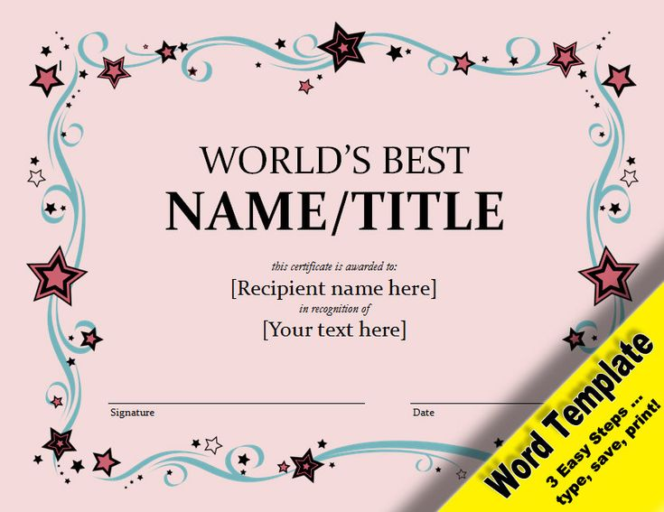 21 best etsy word and pdf templates images on pinterest word worlds best award editable word template printable instant download you word templatescertificate templatesmicrosoft yadclub Images