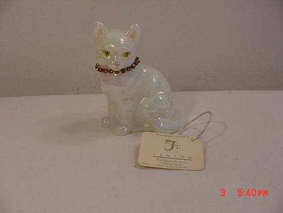 Vintage Fenton November Birthday Cat Figurine Artist Signed