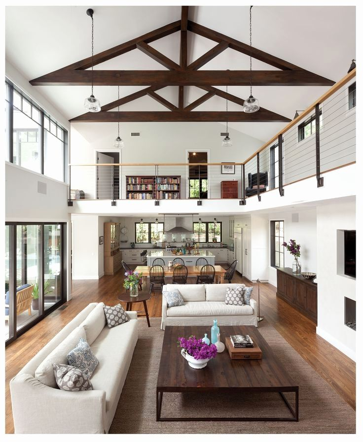 Image Result For Single Story High Ceiling Open Floor Plan House Plan With Loft Farm House Living Room House