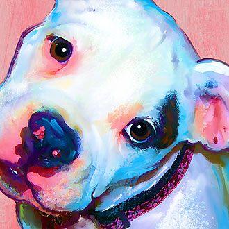 american bulldog puppy art portrait - artpaw.com bt: the pinks & turquoise - love the colour scheme