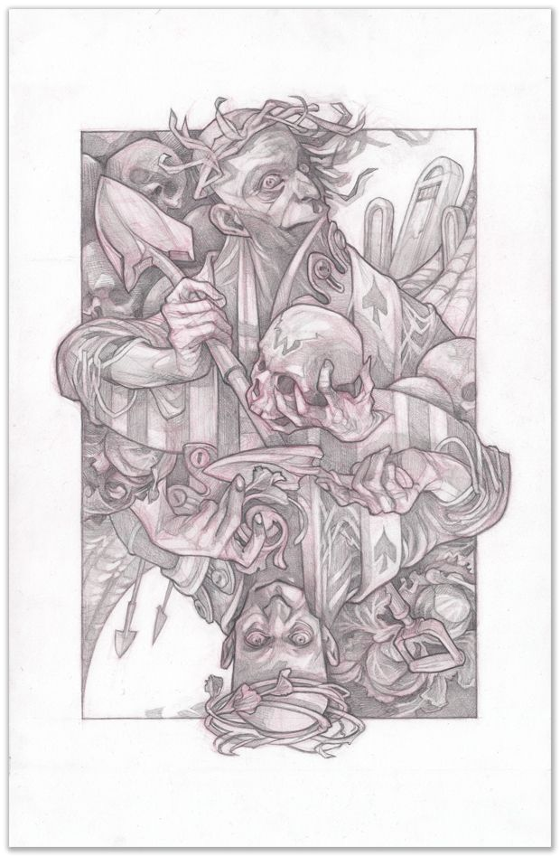 King of spades original pencil drawing