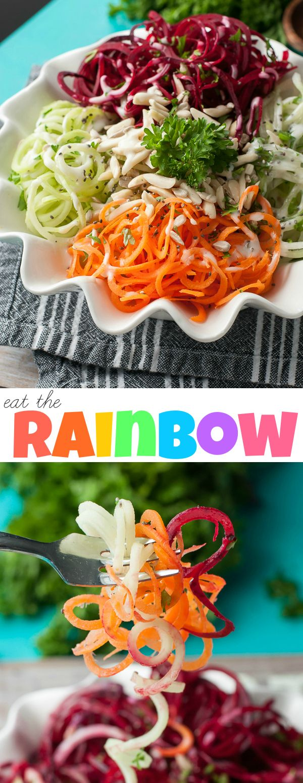 Healthy Spiraled Veggie Salad :: Eat the Rainbow!