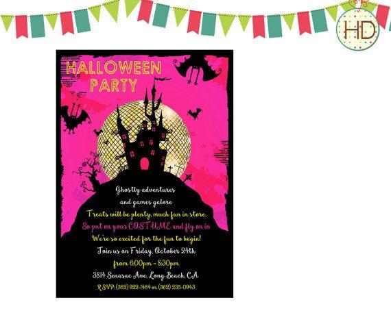 Pink Halloween Invitation Disco Ball Halloween by HDInvitations