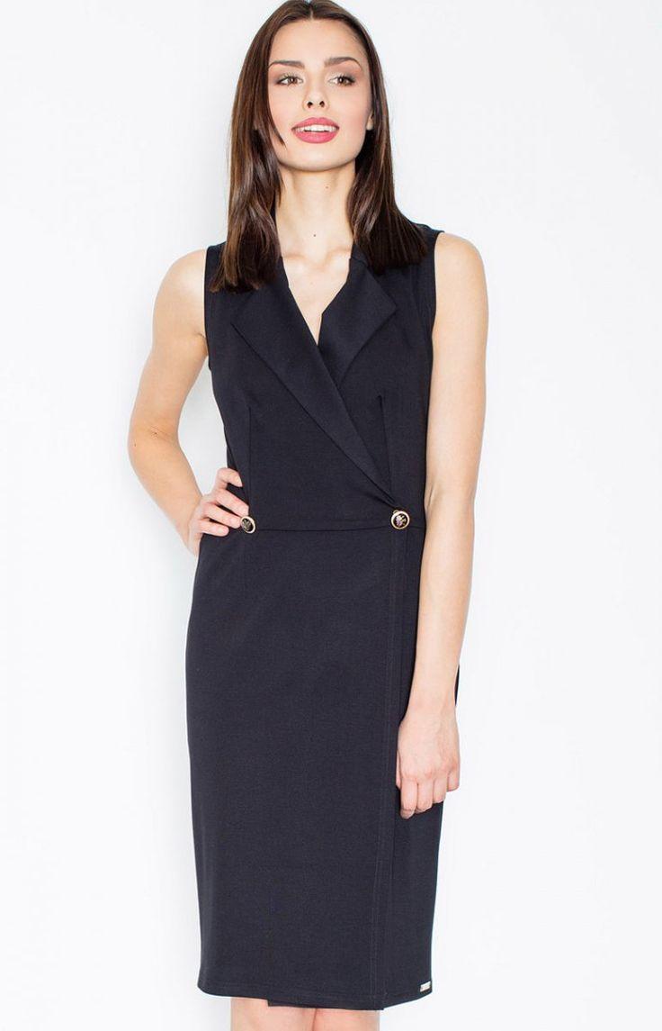 Figl M443 sukienka czarna Elegancka sukienka, seksownie odsłania ramiona, zapinana z przodu na guzik
