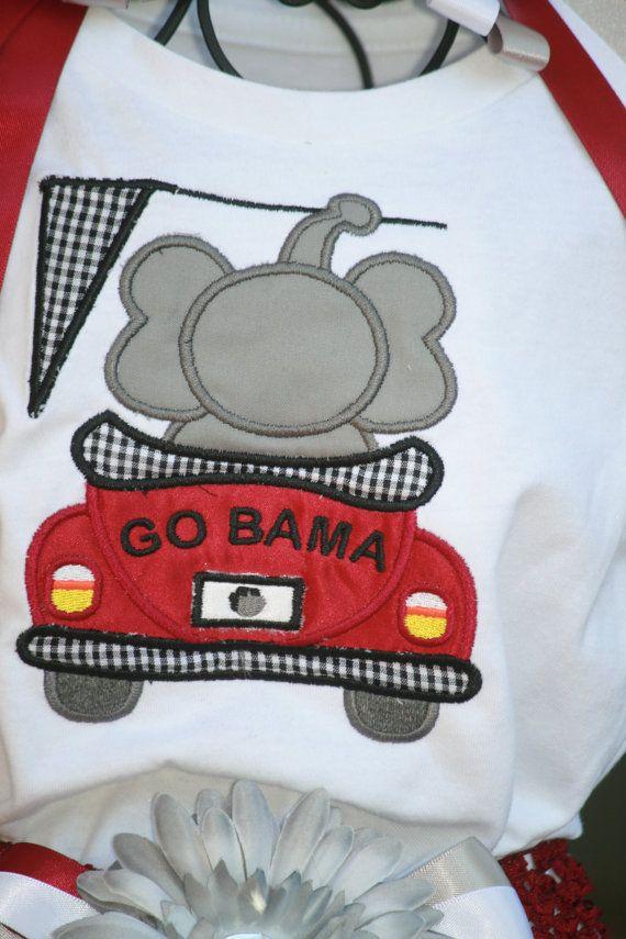 Go Bama Embroidered Shirt Alabama college by TinasOnceUponATutu, $28.00