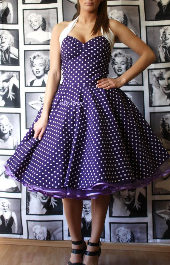 50s rockabilly...Pinup...Petticoat dress in by elaZara on Etsy, €89.00 OMG!!!!!!!! It's purple, polka dotted, and adorable! I want the girls in this!