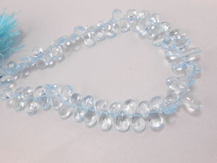 """Fine Sky Blue Topaz Faceted Pear Beads 9"""" Strand sky blue loose gemstone beads #GemstoneTopper #Faceted"""