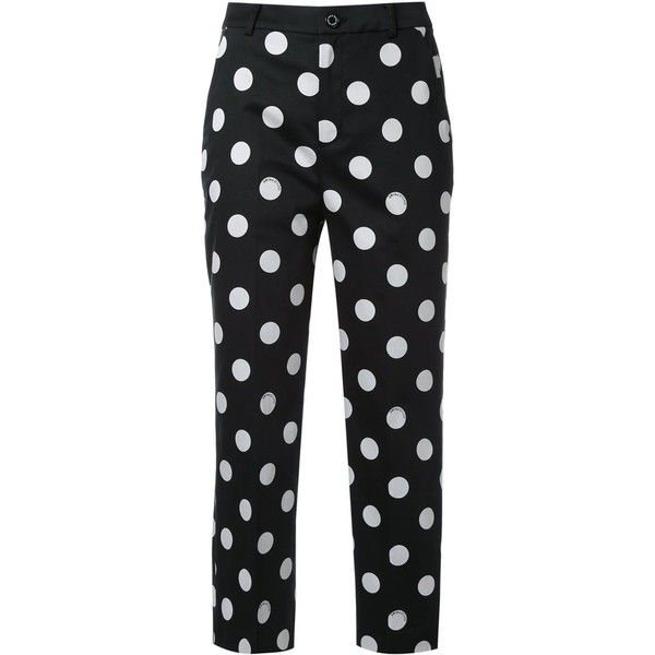 Guild Prime polka dot cropped trousers (€72) ❤ liked on Polyvore featuring pants, capris, bottoms, black, trousers, polka dot pants, dot pants, cropped capri pants, cropped pants and cropped trousers
