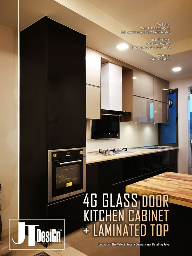 It S A 4g Gl Door Kitchen Cabinet With Laminated Worktop
