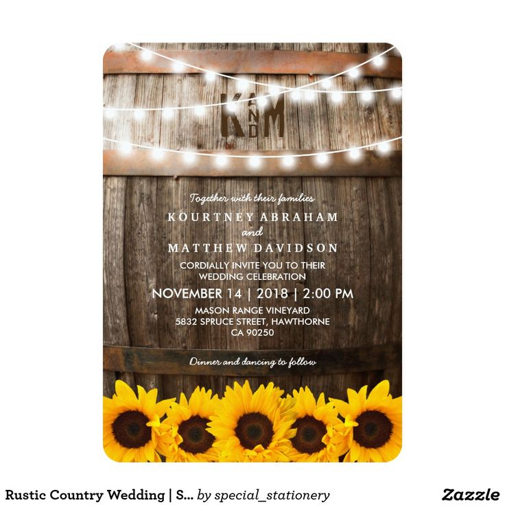 sunflower wedding invitations printable%0A Rustic Country Wedding   Sunflower String Lights Invitations  rusticwedding   sunflowers