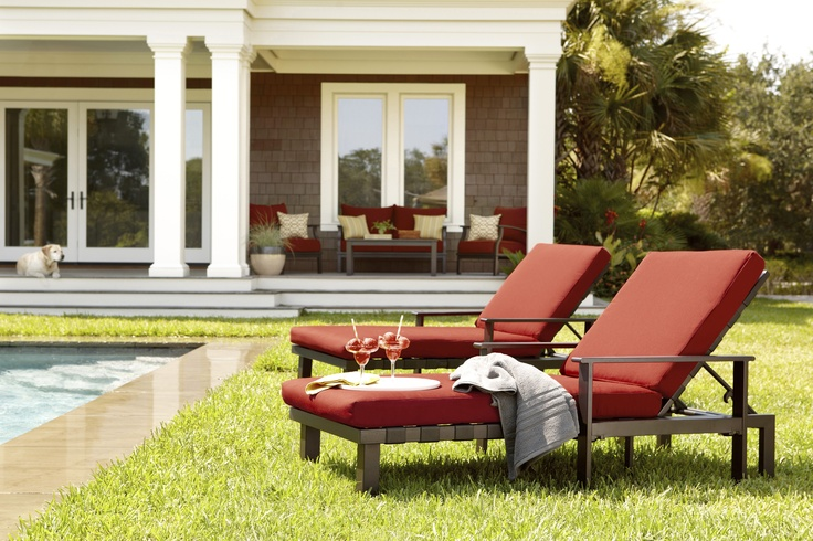 Relax in this stunning allen roth chaise lounge patio for Allen roth steel patio chaise lounge