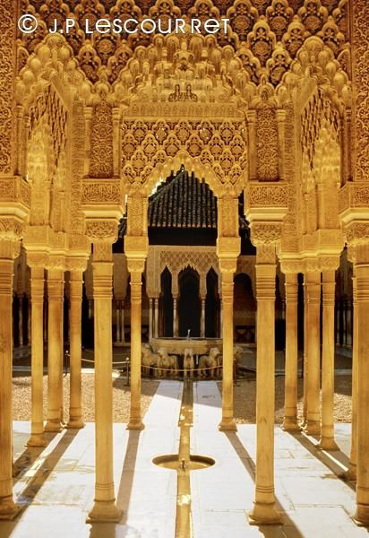 Photo la Cour des Lions, Alhambra, grenade, Espagne