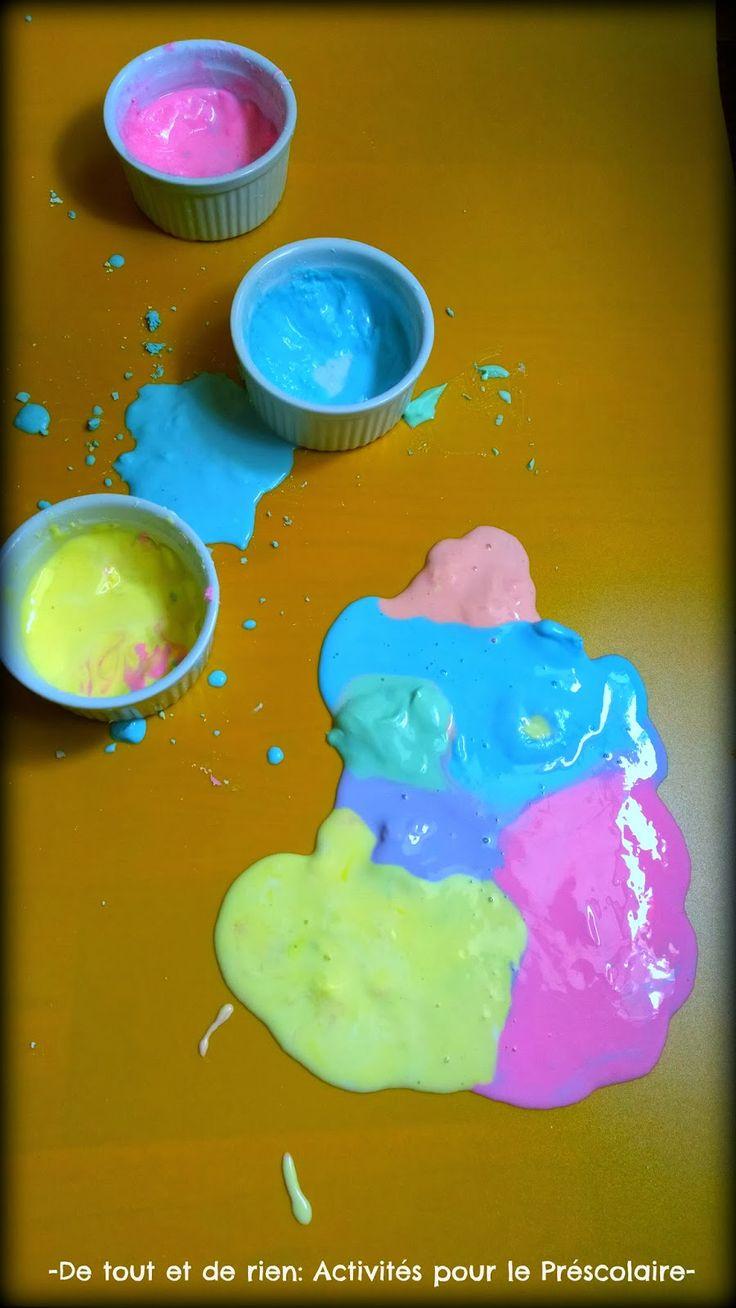 De tout et de rien: Activités pour le Préscolaire: Color mixing with Oobleck - Mélanger des couleurs avec du sable mouvant à l'amidon de maïs (pâte à patouille)