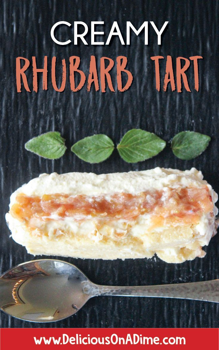 This Creamy Rhubarb Tart is the perfect way to celebrate Mother's Day or just spring's first harvest!  A buttery shortbread base, rich cream cheese layer, tart rhubarb filling and airy whipped cream topping will have you dreaming of this tart until rhubarb season next year! Check out the step-by-step photo instructions below the recipe.