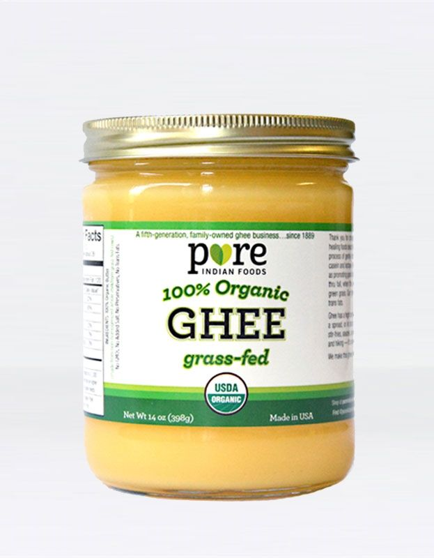 Pure Indian Foods stocks grass fed, organic Indian ghee that is great for cooking your favorite dishes; healthy, tasty substitute for butter. Shop today!