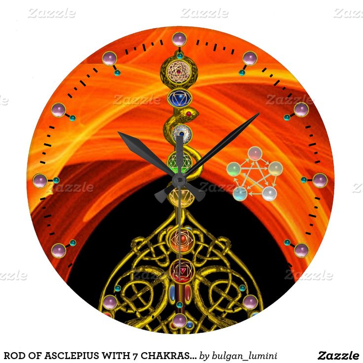 ROD OF ASCLEPIUS WITH 7 CHAKRAS ,SPIRITUAL ENERGY WALL CLOCKS