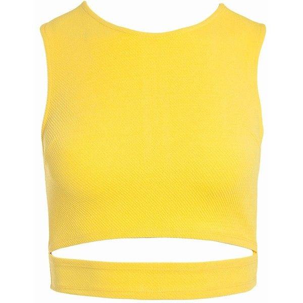 Sans Souci Cutout sleeveless crop top (£14) ❤ liked on Polyvore featuring tops, crop top, yellow, sleeveless crop top, crop shirts, cut-out tops and cut out crop top