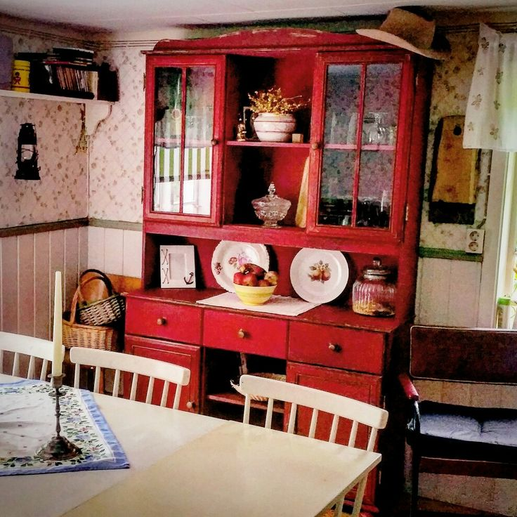 "Transformed kitchen cabinet. MMS's ""Tricycle"" and Antique Wax.  #mms #missmustard #missmustardseed #tricyclered #antiquewax #furniturewax #mmsred #kitchencabinet"