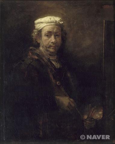 화판 앞의 화가의 초상 [ Portrait de l'artiste au chevalet ]   -하르먼스 판 레인 렘브란트 Harmensz van Rijn Rembrandt (1606~1669)  사조 바로크, 유화, 캔버스의 유채(Huile sur toile), 111×90cm, Musee du Louvre, Paris