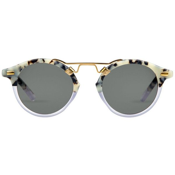 St. Louis Bengal Matte Au Lait to Clear Sunglasses ❤ liked on Polyvore featuring accessories, eyewear, sunglasses, glasses, metal glasses, clear sunglasses, matte finish sunglasses, matte glasses and clear eyewear