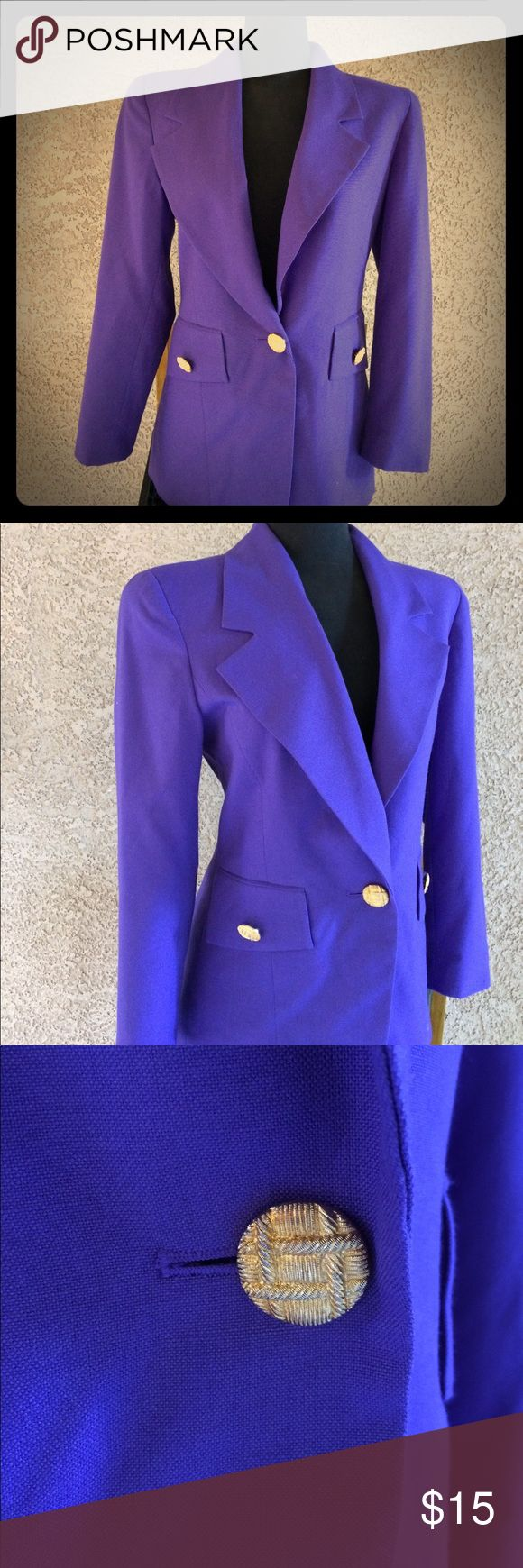Ann Taylor fitted purple blazer gold buttons Sz 6. Good condition Ann Taylor size 6 women's fitted purple blazer coat. Ann Taylor Jackets & Coats Blazers