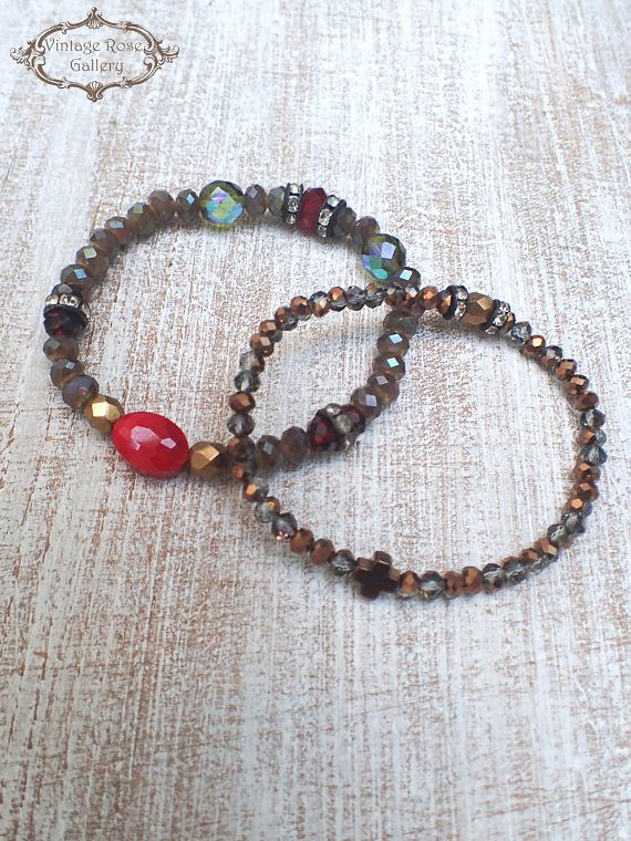 Boho Chic Bracelets, Set of 2 bracelets, Layered Bracelets , Cross bracelets , Boho Bracelet, Bohemian Christmas, Gift for Her. A beautiful Set of two stretch bracelet with an ultra Boho result ... So versatile that can be worn from day to night and all year long ... Features :