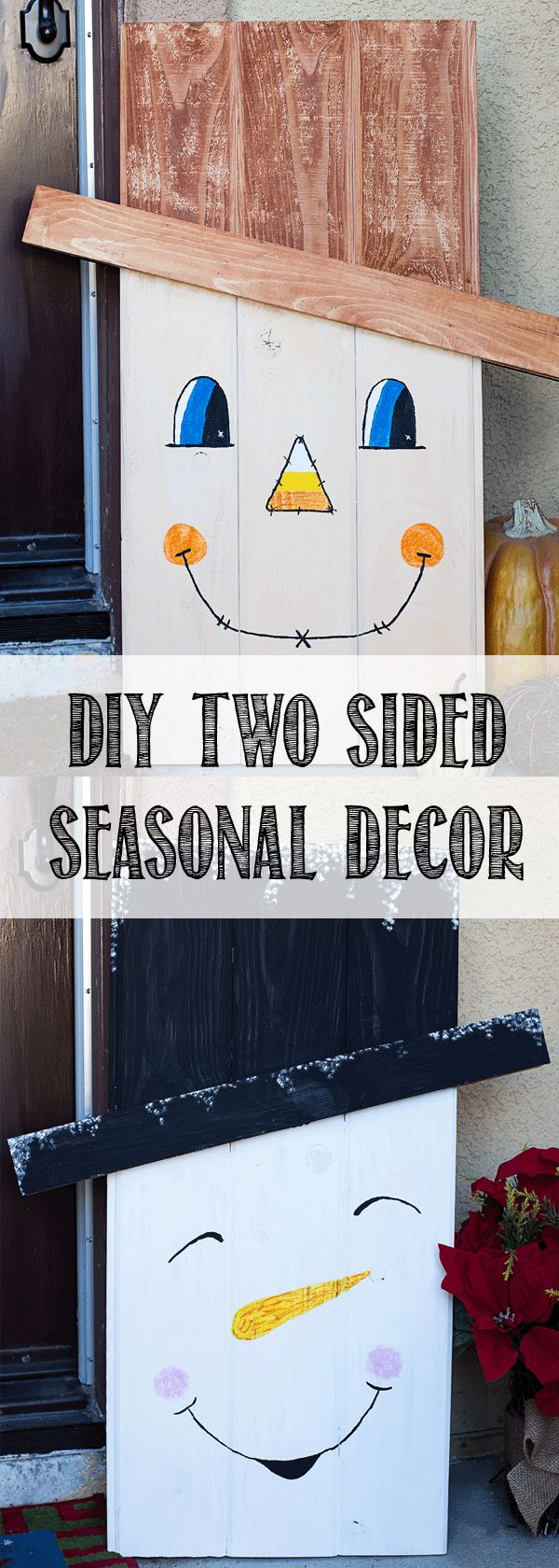 2 sided seasonal decor!  Learn how to make this great DIY Two Sided Seasonal Character.  1 projects takes you from Halloween, Thanksgiving and into Christmas.