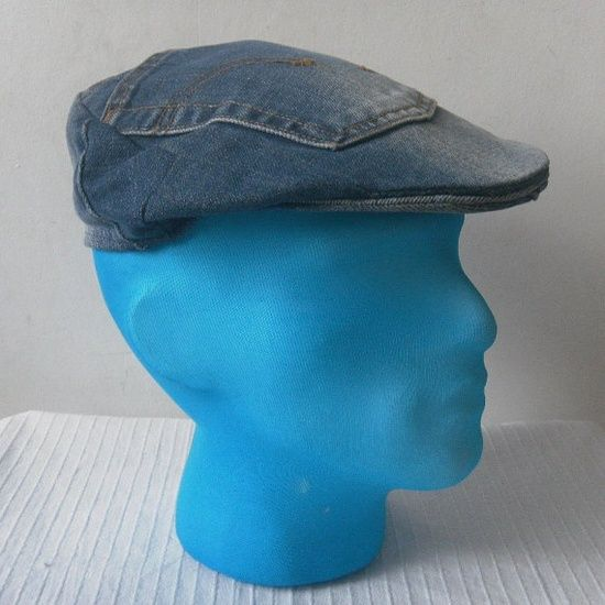 Recycled Denim Crafts | recycled blue jean crafts / recycled denim -- cap