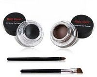 Eyes Makeup 2 in 1 Black + Brown Colors Long-Wear Gel Eyeliner with Small Brushes Perfect Cosmetic Brand Music Flower