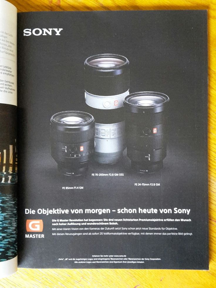 BALANCE: The the three objectiv lenses are placed like a triangle. This makes the ad look balanced, even though it is not a perfect triangle.