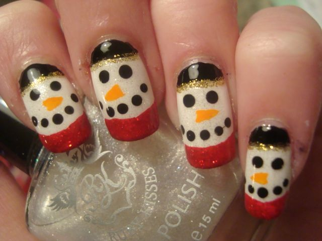 paint that nail: Day 5- Snowman face!