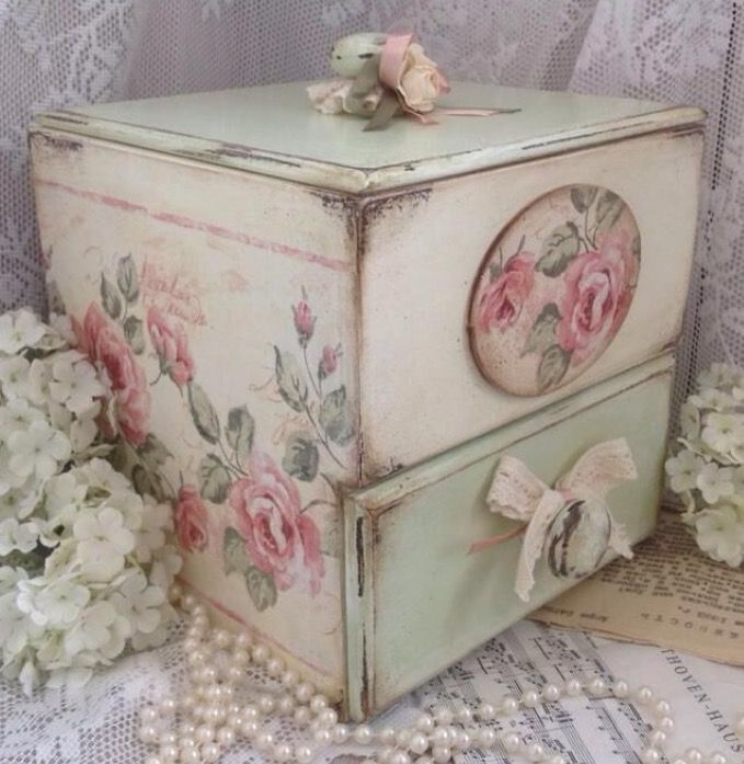 Lovely Hand Painted Wooden Box with Drawer ~                                                                                                                                                      More