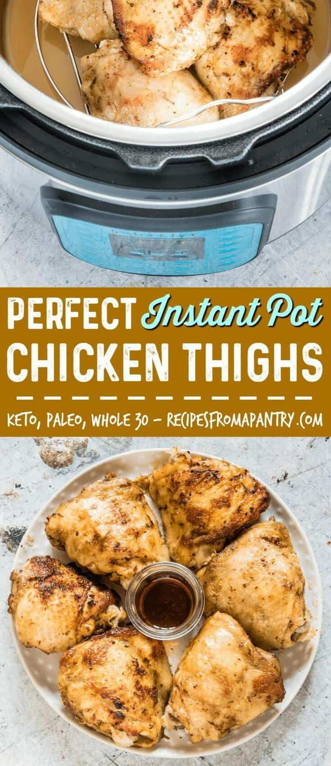 If you're looking for the BEST and EASIEST Instant Pot chicken thighs recipe, you've found it! This Instant Pot recipe produces flavourful, moist, and delicious chicken thighs in no time at all. Start with fresh or frozen chicken thighs!