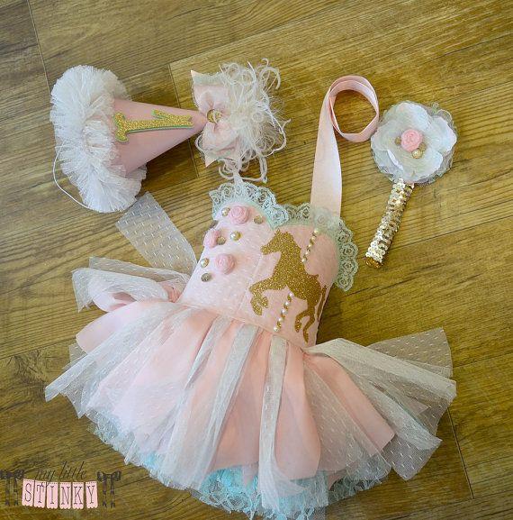 Pink & Mint Carousel themed dress 9-12mo