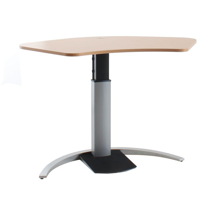 Rise Step Height Adjustable Desk 1400 x 900mm.  The Rise Step comes with an elegant rounded design and comes with a height adjustment range of 660mm to 1180mm. Available in either a silver or black powdercoat, and either white or beech top.