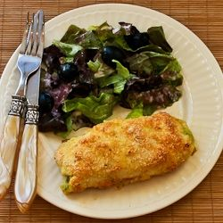 Recipe for Baked Chicken Stuffed with Pesto and Cheese (Low-Carb, Gluten-Free) [from KalynsKitchen.com]