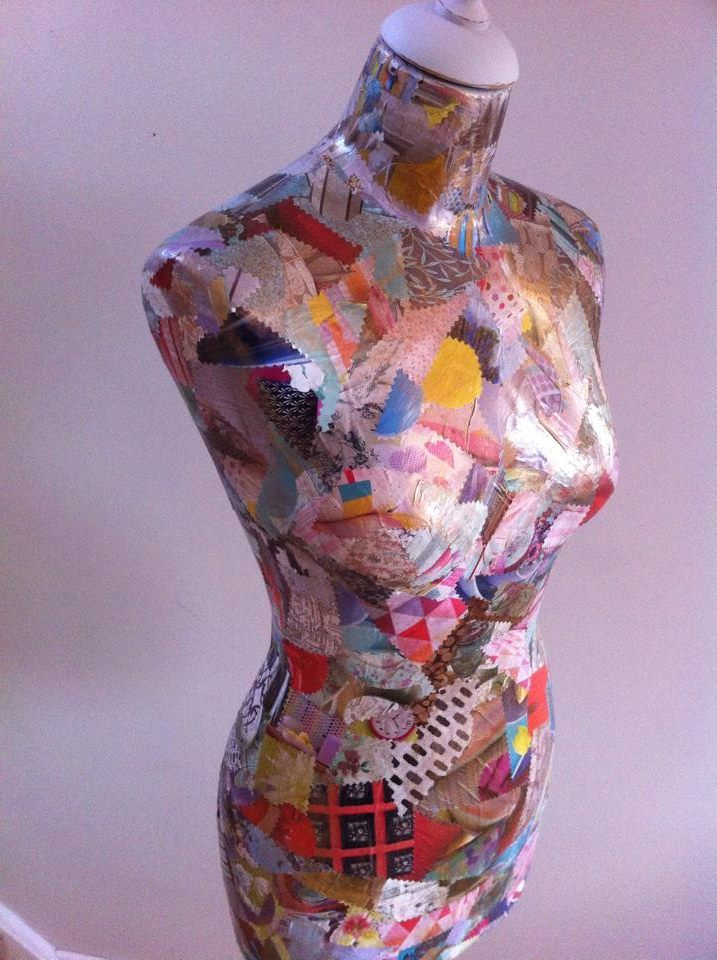 """Bronzing"" decoupaged adjustable mannequin stand painted colortrend"